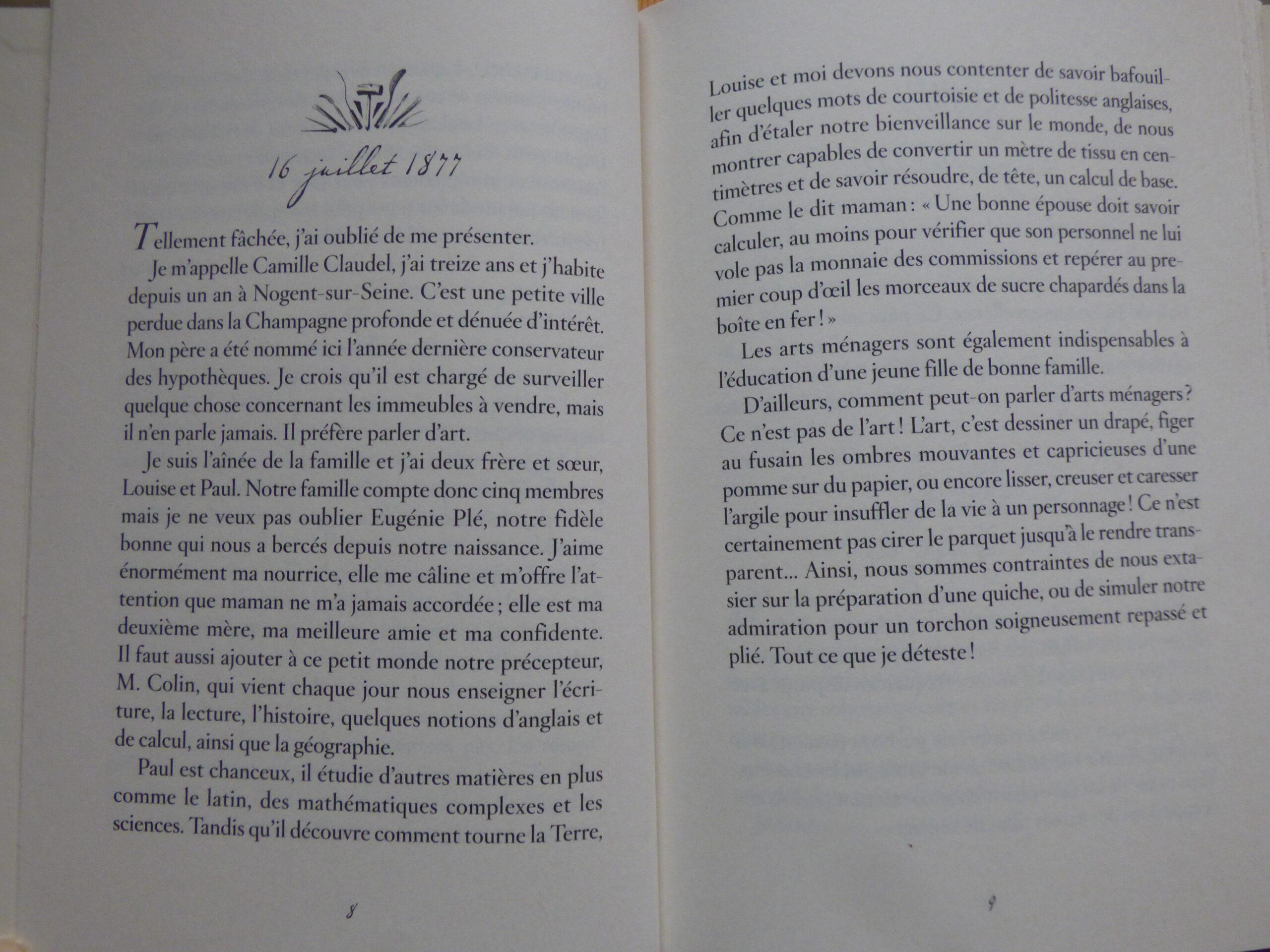Extrait de Camille Claudel, Journal d'une apprentie sculptrice 1877-1879